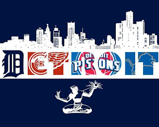 Detroit city skyline with its sporting team logos