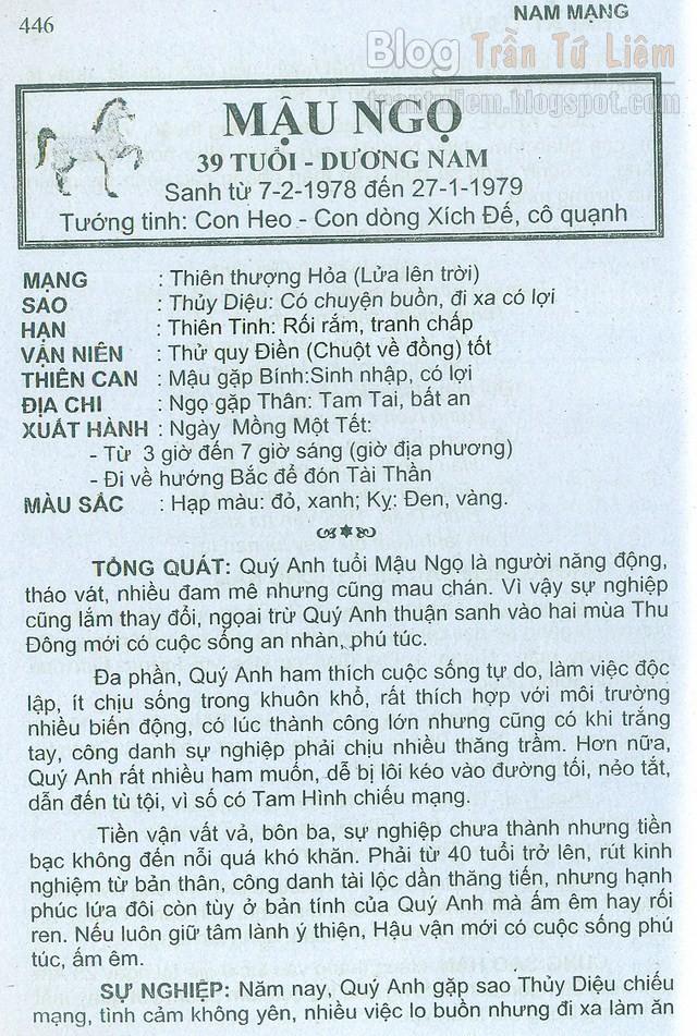 TỬ VI TUỔI 1978 MẬU NGỌ NĂM 2016 NAM MẠNG