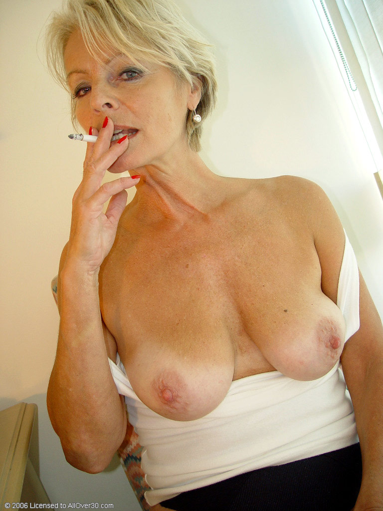 older nude women smoking