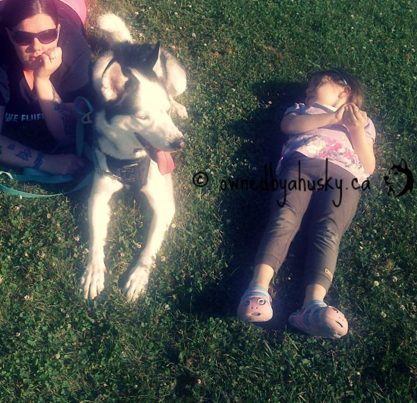 relaxing with my husky and my daughter