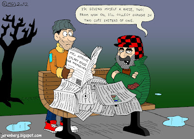 mks approve salary raise for themselves hobo tramp beggar homeless man lying on bench covered with newspapers im giving myself a raise too from now on ill collect change in two cups instead of one