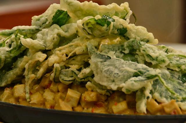 Sizzling Tofu Sisig with Crispy Kangkong Recipe