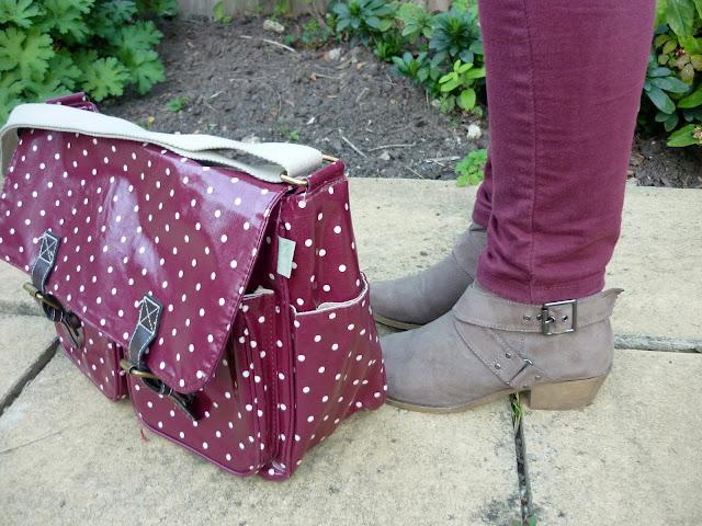 Polka dot Satchel & Taupe Boots | Petite Silver Vixen