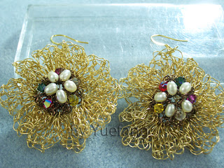 Brass_flower_wire_crochet_earrings_embellished_with_gunmetal_wire_freshwater_pearls_Swarovski_crystals