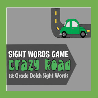 Crazy Road Sight Words Game for 1st grade