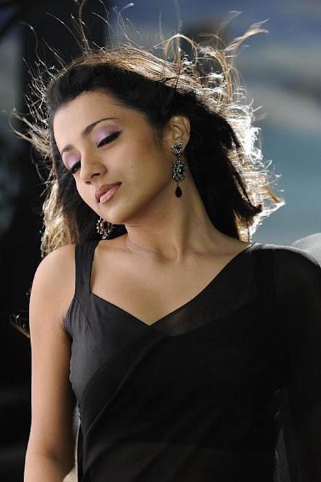 trisha in guard movie black saree , unseen pics