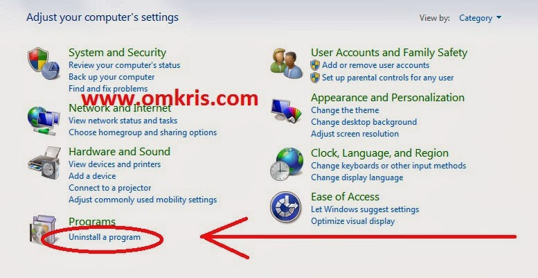 Menghapus atau Uninstall Program Aplikasi Melalui Control Panel Windows