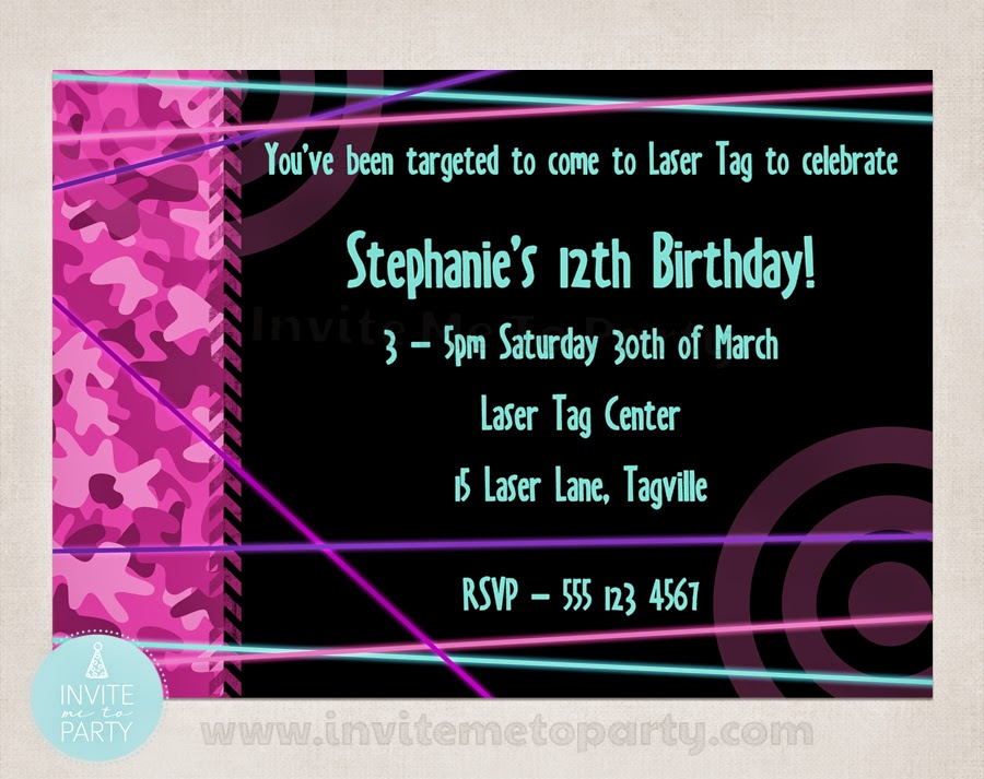 Invite Me To Party: Laser Tag Party / Laser Skirmish Party