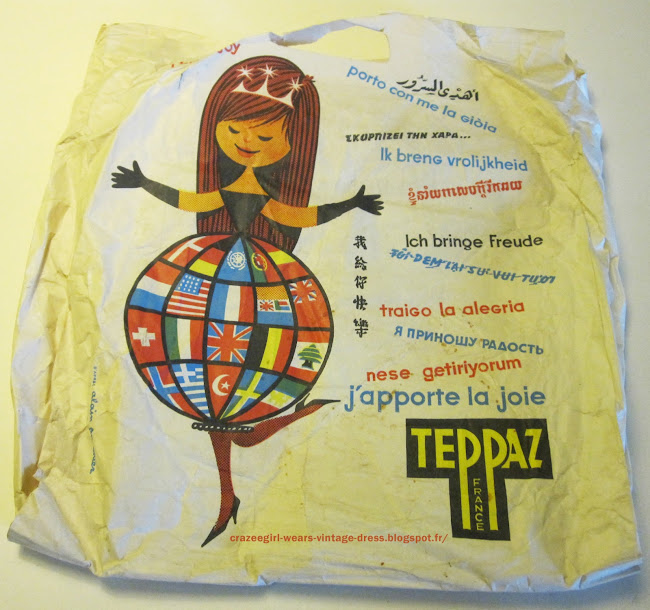 teppaz publicité advert ad In the street ... hundreds  of vintage magazines ( Marie Claire , Elle , Paris Match , Time , Echo de la mode ... from 1949 to 1973 ... class by date ! I sort for two days and i haven't done yet  ! ) and this nice Teppaz paper bag .1950 1960 1970 50s 60s 70s yard sale sales garage brocante Yard sales : vintage rain coats  , lambswool sweaters ( I have a weakness for this material ) , pompom scarf , records (The Equals , David Bowie, Alice Cooper) , brooch  and key ring  ( anchor , fish , toothpaste and toothbrush  )   , and a vinyl rain hat with a bow .