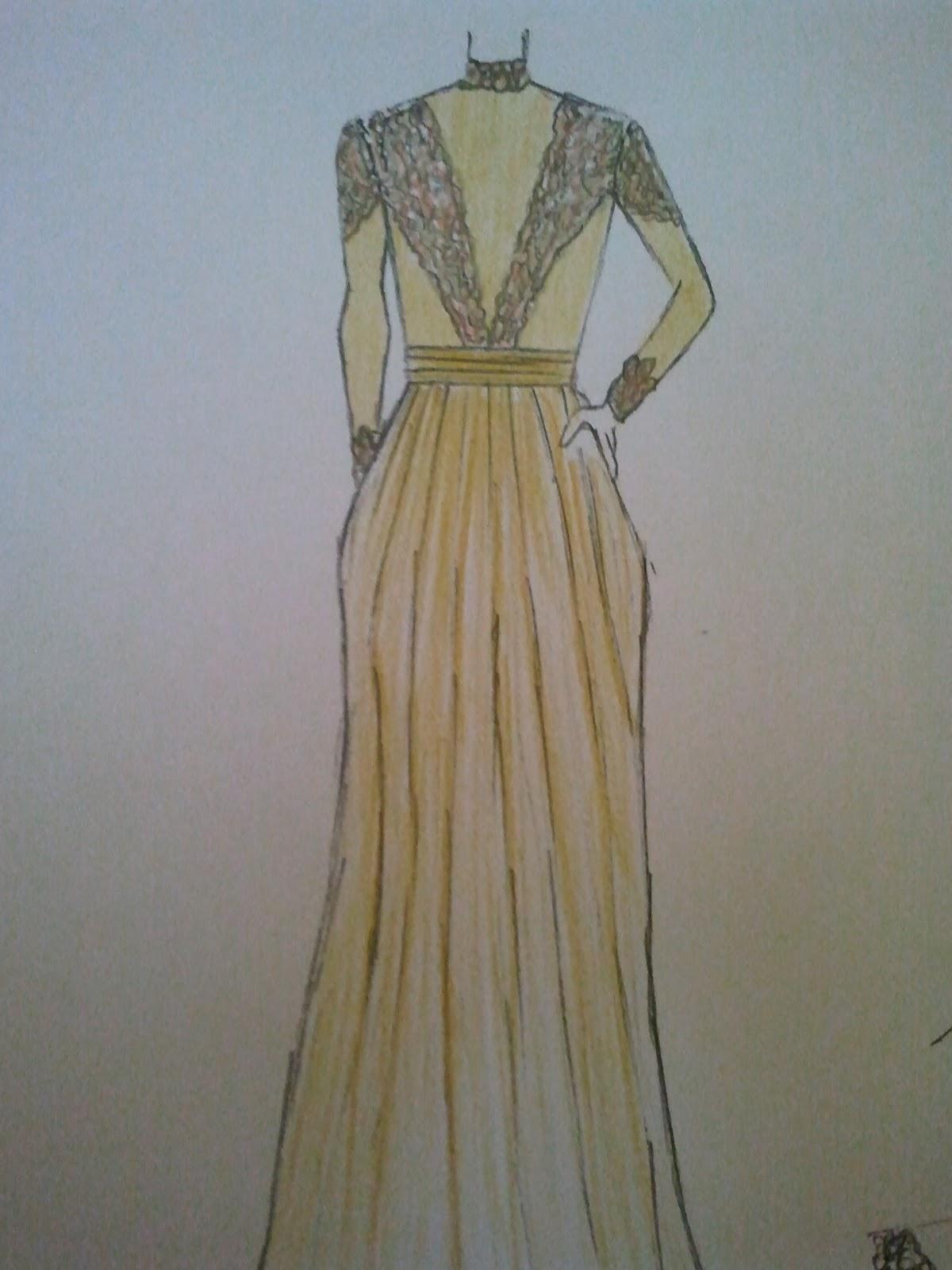 Desain Gaun Kebaya Plunging Neckline