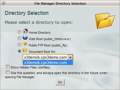 Customized File Manager Directory Selection of cPanel