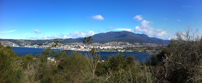 The view of Hobart from the Rosny Point Lookout