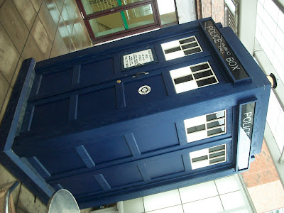 The TARDIS is parked in front of BBC Studios.