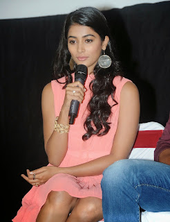 Actress Pooja Hegde Pictures in Short Dress at Oka Laila Kosam Prerelease Press Meet  81