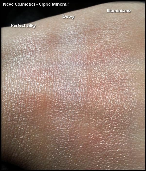 Neve Cosmetics - Ciprie Minerali - Swatch di Perfect Silky, Dewy e Illuminismo
