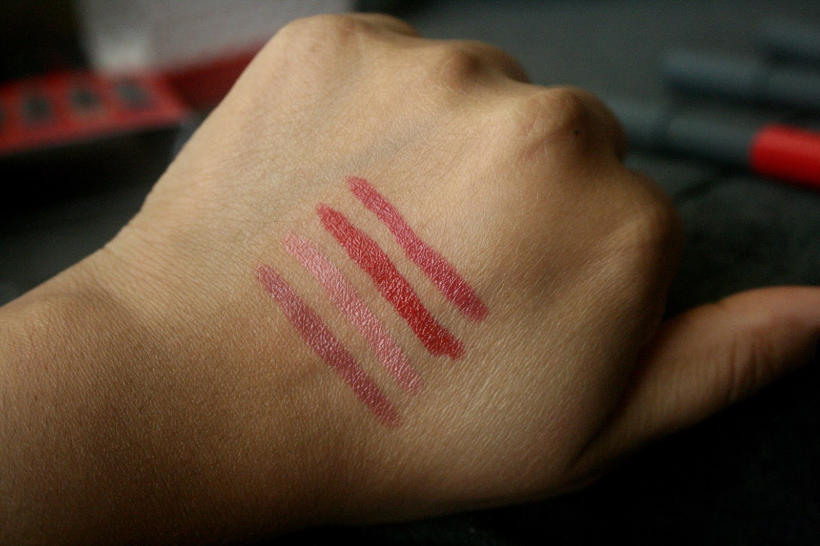 Bite Beauty Best Bite Remix Kit Pomegranate, Rhubarb, Sable & Winterberry High Pigment Pencil Swatches