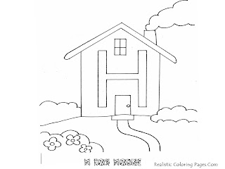 Alphabet Coloring Pages H For HOUSE