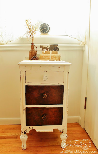 white painted vanity dresser restyled repainted furniture via KnickofTimeInteriors.blogspot.com