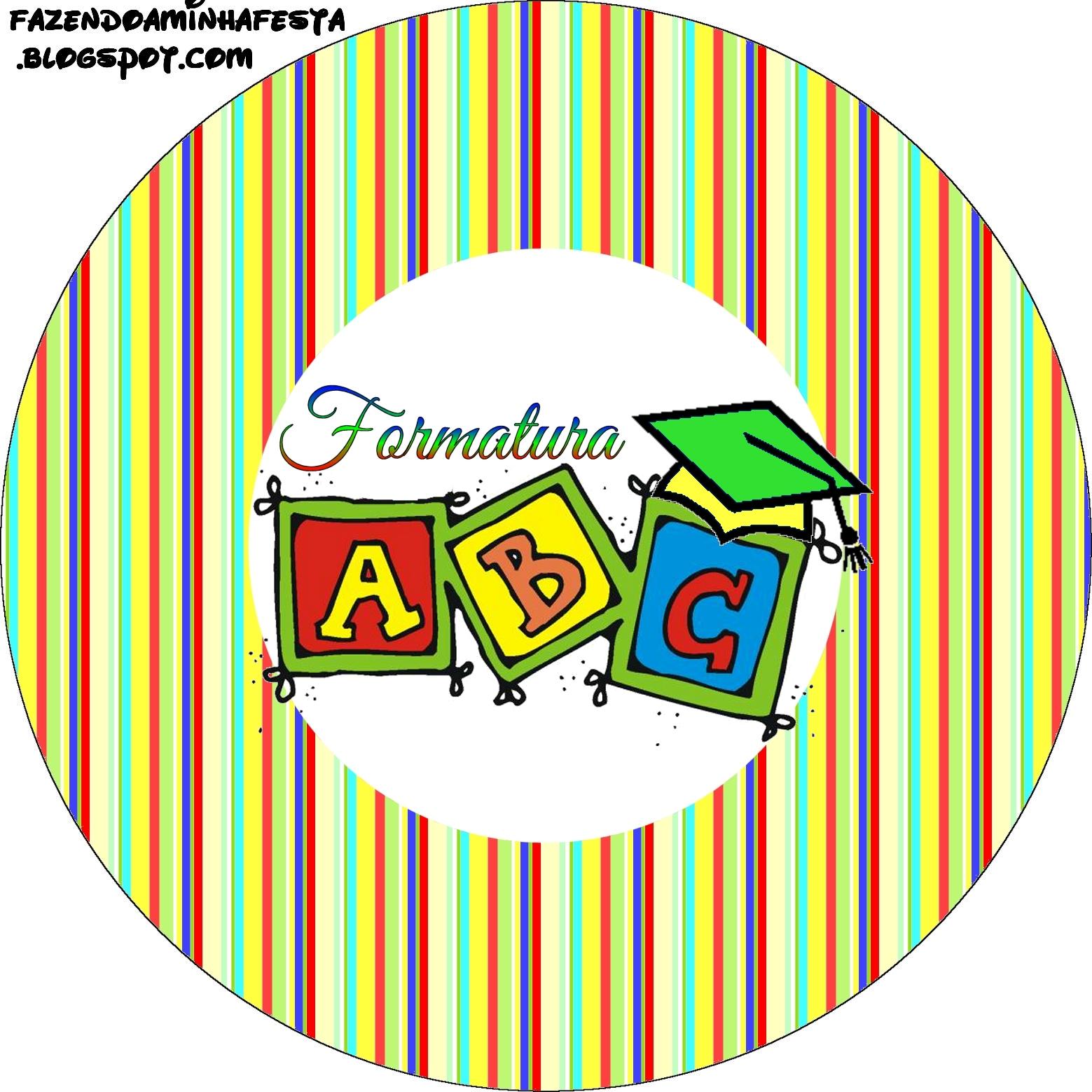 Artesanato De Resende Costa Minas Gerais ~ Formatura do ABC Kit Completo com molduras para convites, rótulos para guloseimas