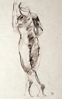 life drawing standing gesture, charcoal on paper, Shannon Reynolds