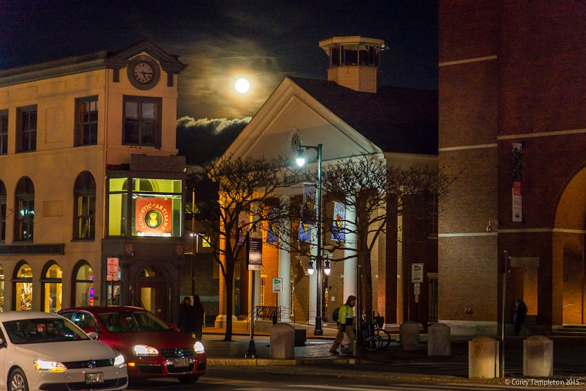 Portland, Maine USA November 2015 photo by Corey Templeton of moon rising beyond Congress Square.