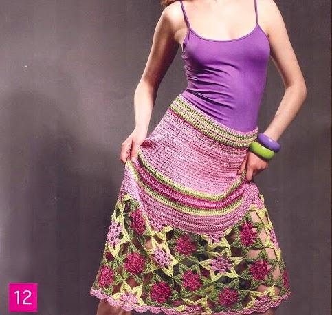 Falda de Flores a Crochet