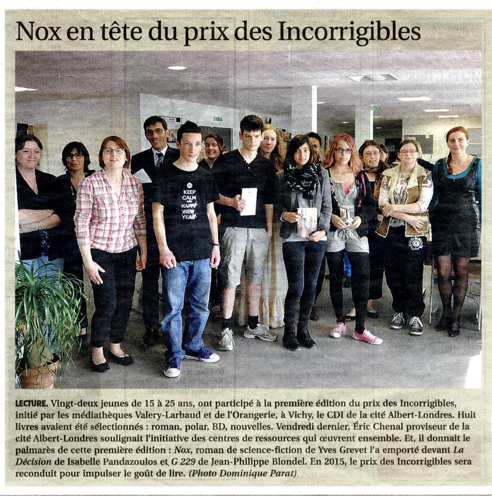 Remise du lauréat de la première édition du prix des Incorrigibles 2013-2014