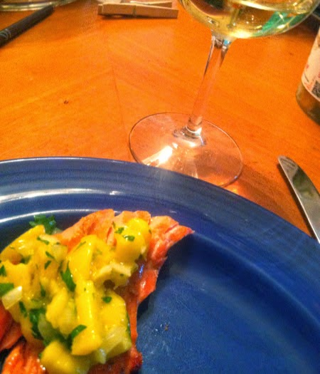 Grilled Salmon with Mango Salsa and White Burgundy