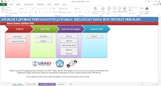 Tampilan awal aplikasi olah dana bos 2015