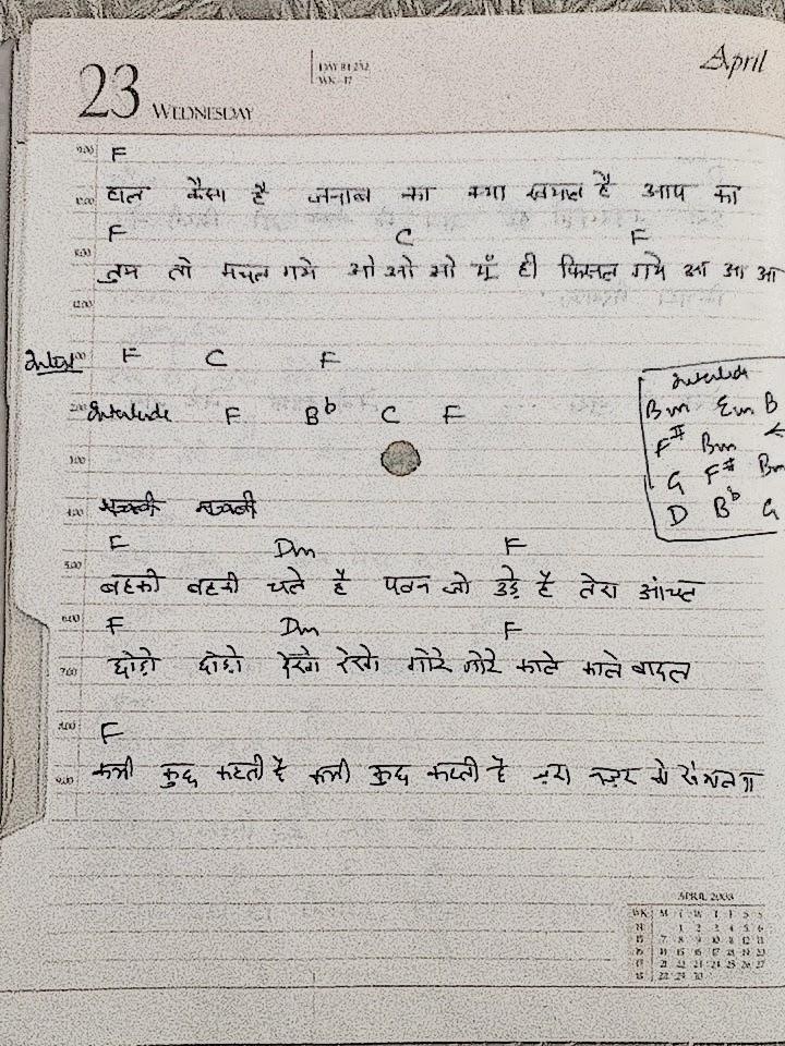 My Guitar Notes Haal Kaisa Hai Janab Ka Guitar Chords