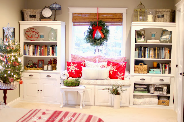 Christmas built in bookshelves with window seat and wreath-www.goldenboysandme.com
