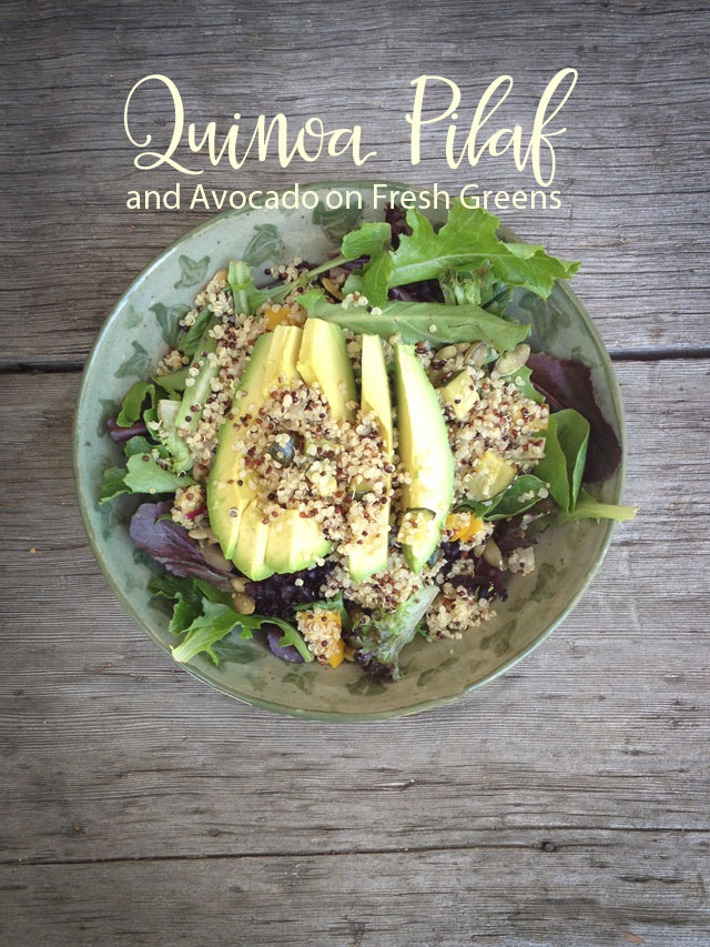 Gluten Free - Quinoa Pilaf on Avocado and Baby Greens Salad