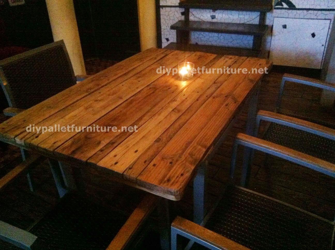 Mesas hechas de palets en el caf for Mesas hechas con palets