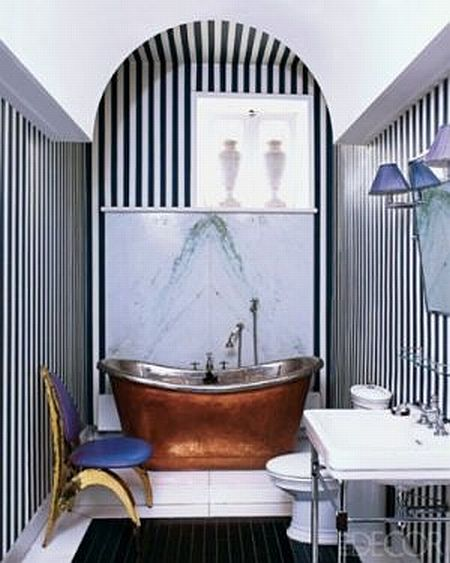 awesome bathroom with black and white striped wall