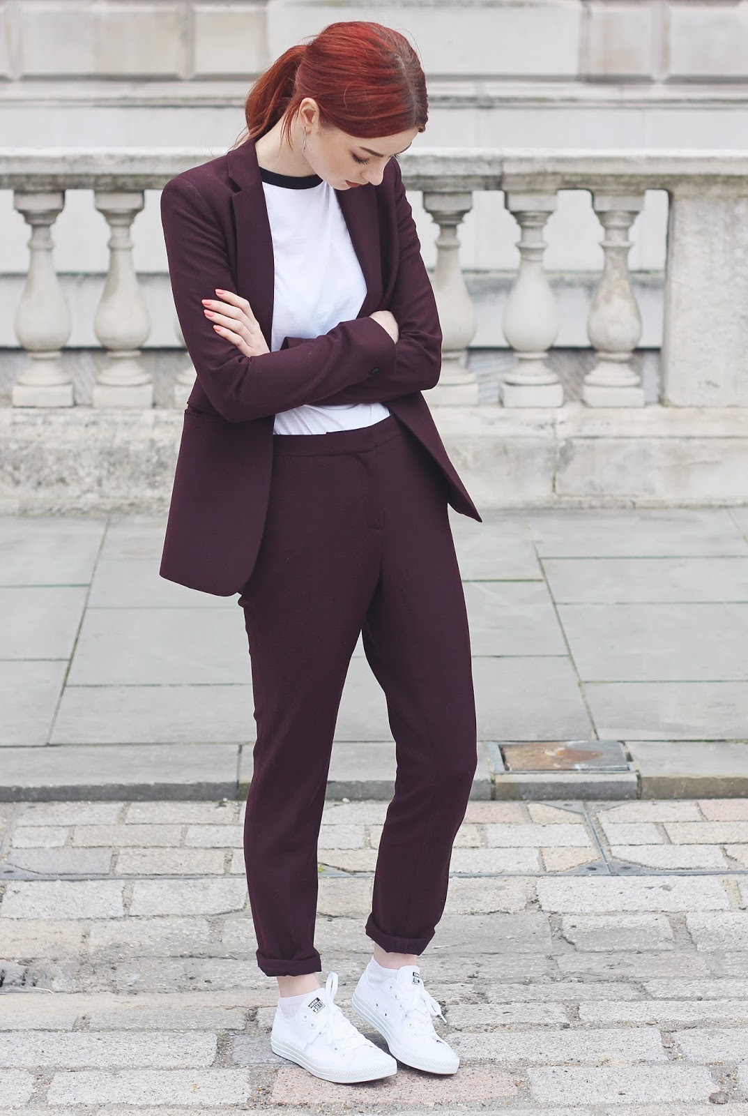 burgundy berry suit