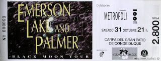 entrada de concierto de emerson lake and palmer