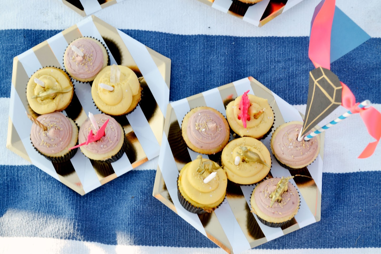 stripes, hexagon, paper plates, gold, neon pink, cupcakes, dinosaurs, gems