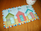 Beach Huts Mug Rug