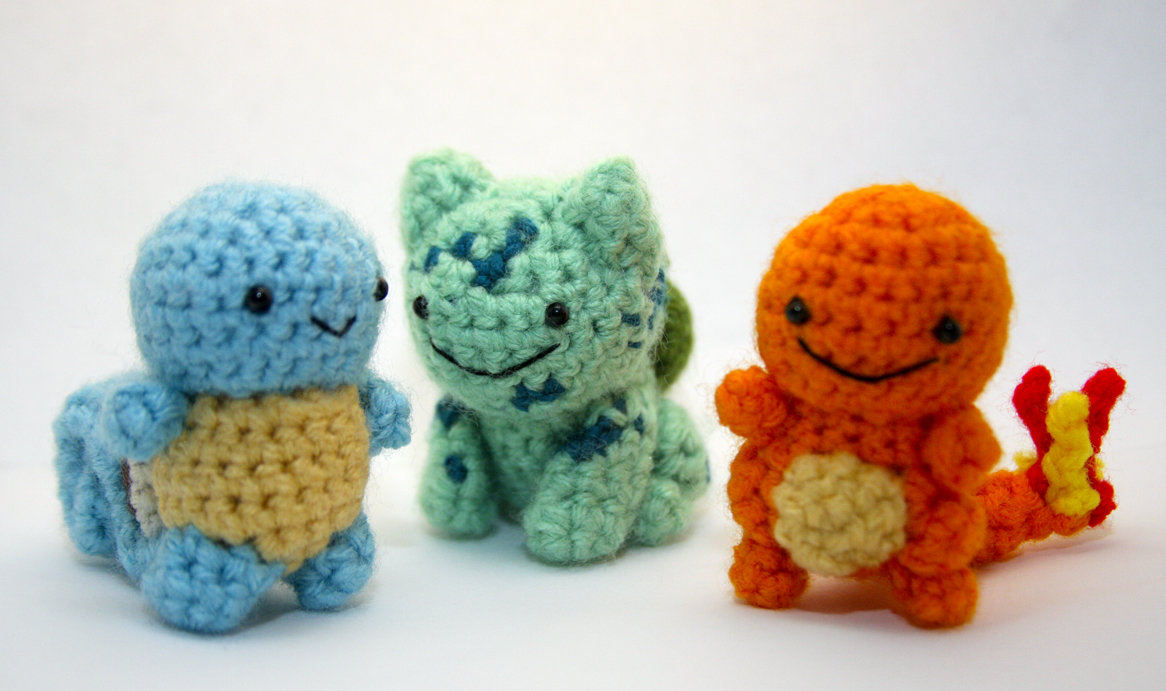 Crochet Pokemon : Geeky Cute Crochet Blog: Pokemon Starter Set