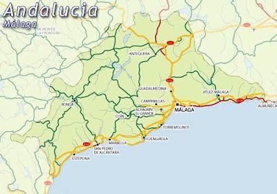 Malaga Andalucía mapa de la ciudad