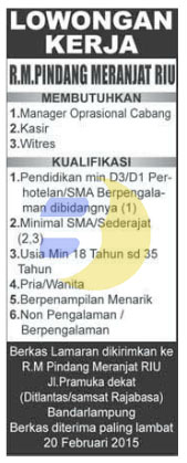 Bursa Kerja di RUMAH MAKAN Lampung