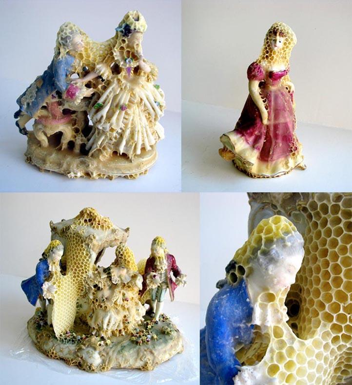 Artista abejas esculturas panales