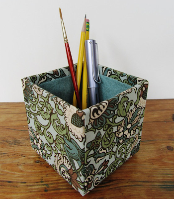 fabric-covered pencil cup, square shape