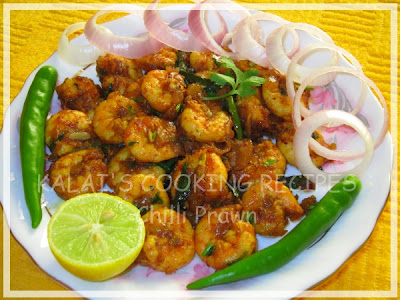 Hot & Spicy Dry Chilli Prawn - Indian Recipe