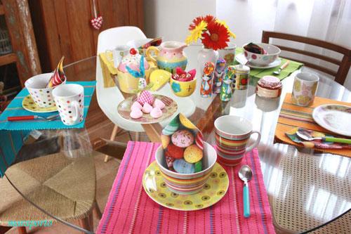 mesa+p%C3%A1scoa+colorida+4 Dicas para montar mesa de café da manhã