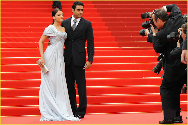 Aishwarya Rai in saree with abisek