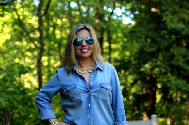 Keeper Chambray Shirt from J Crew and Blue Tinted Mirror Aviator Sunglasses from Ray Ban