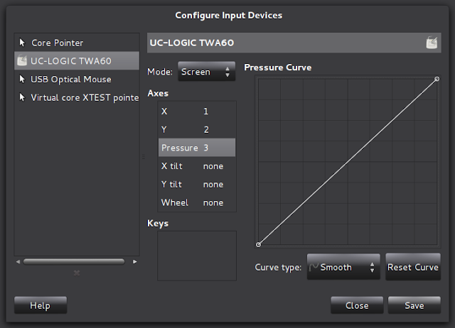 Setting the general behavior of pressure on our graphic tablet.