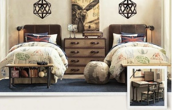Traditional boys room decor ideas 2015, teen boys room with leather headboards
