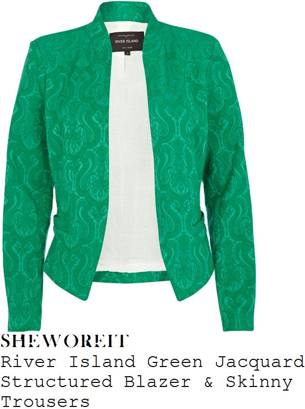 lucy-mecklenburgh-green-jacquard-trouser-suit